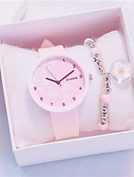 cheap -Women's Quartz Watches New Arrival Fashion Black White Pink Silicone Quartz Black White+Pink White Chronograph New Design Casual Watch 2pcs Analog