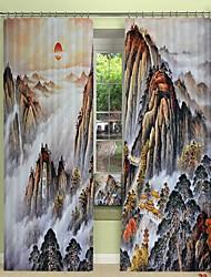 cheap -Chinese Painting Digital Printing 3D Curtain Blackout Curtain High Precision Black Silk Fabric High Quality Curtain