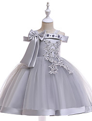 cheap -A-Line Knee Length Wedding / Birthday / Pageant Flower Girl Dresses - Tulle Sleeveless Spaghetti Strap with Faux Pearl / Petal / Lace