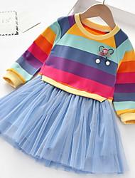 cheap -Kids Little Girls' Dress Striped Blue Blushing Pink Dresses