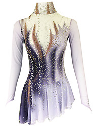 cheap -21Grams Figure Skating Dress Women's Girls' Ice Skating Dress Dark Purple Light Purple Dusty Rose Open Back Spandex Stretch Yarn Micro-elastic Training Skating Wear Classic Crystal / Rhinestone Long