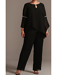 cheap -Two Piece / Pantsuit / Jumpsuit Jewel Neck Floor Length Chiffon 3/4 Length Sleeve Plus Size Mother of the Bride Dress with Beading 2020