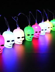 cheap -EU Plug 220-240 V / AA Batteries Powered 3M 16pcs Halloween Skull LED String Lights Garden Home Party Decoration Holiday String Light Halloween Lights