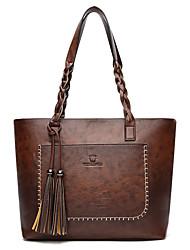 cheap -Women's Tassel PU Top Handle Bag Solid Color Black / Dark Brown / Red Brown