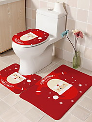 cheap -Christmas Door Mat 3 Piece Bathroom Bath Mat Rug Set with Toilet Lid Cover/Christmas Door Mat Theme Polyester Knitted Stretch
