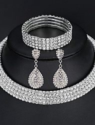 cheap -Women's Jewelry Set Bracelet Bangles Drop Earrings Pave European Fashion Elegant Italian everyday Iced Out Imitation Diamond Earrings Jewelry 2 Rows / 3 Rows / 4 Rows For Wedding Party Prom