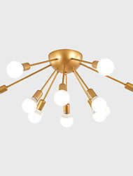 cheap -12-Head Nordic Style Tieyi Flush Mount Ceiling Light Modern Vintage Living Room Dining Room Bedroom Ceiling lights Painted Finish