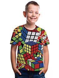 abordables -Enfants Bébé Garçon Actif Basique Cubes Magiques Géométrique Bloc de Couleur 3D Imprimé Manches Courtes Tee-shirts Arc-en-ciel