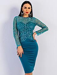 cheap -Women's Khaki Green Dress Elegant Sheath Solid Colored XS S Slim