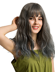 cheap -Synthetic Wig Bangs Curly Water Wave Side Part Neat Bang With Bangs Wig Long Grey Synthetic Hair 18 inch Women's Cosplay Women Synthetic Dark Gray HAIR CUBE / Ombre Hair