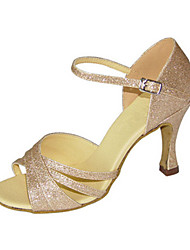 cheap -Women's Dance Shoes Synthetics Latin Shoes Glitter Heel Flared Heel Customizable Gold