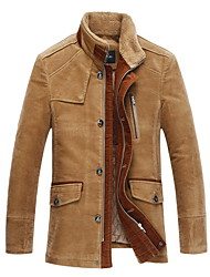 cheap -Men's Daily Fall & Winter Regular Jacket, Solid Colored Stand Long Sleeve Polyester Light Brown / Brown
