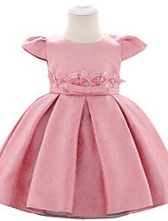 abordables -bébé Fille Actif Couleur Pleine / Cachemire Perlé / Noeud / Plissé Manches Courtes Mi-long Robe Rose Poudré