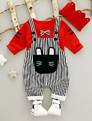 cheap -Baby Boys' Casual / Active Black & White / Cat Striped / Patchwork Bow / Print Long Sleeve Regular Regular Clothing Set White