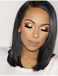 cheap -Remy Human Hair Glueless Lace Front Lace Front Wig Bob style Brazilian Hair Straight Yaki Wig 130% 150% Density with Baby Hair Natural Hairline African American Wig 100% Hand Tied Women's Short