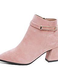 cheap -Women's Boots Chunky Heel Pointed Toe PU Booties / Ankle Boots Minimalism Fall Black / Pink / Khaki