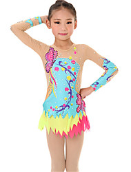 cheap -Rhythmic Gymnastics Leotards Artistic Gymnastics Leotards Women's Girls' Leotard LightBlue Spandex High Elasticity Handmade Print Jeweled Long Sleeve Competition Ballet Dance Ice Skating Rhythmic