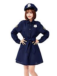 cheap -Police Halloween Props Adults' Women's Halloween Halloween Festival Halloween Festival / Holiday Terylene Blue Women's Carnival Costumes Solid Color Bowknot / Leotard / Onesie / Hat / Waist Belt