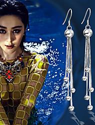 cheap -Female Long Section Korean Tassel Plata Plating Stud Earrings Vintage Women Temperament Bridesmaid Jewelry Brincos Aros