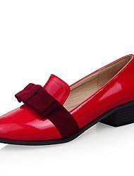cheap -Women's Heels Chunky Heel Round Toe Bowknot PU Spring &  Fall Black / Brown / Red
