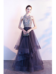 cheap -A-Line Halter Neck Floor Length Lace / Tulle Beautiful Back / Elegant Prom / Formal Evening Dress 2020 with Beading