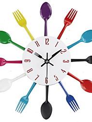 abordables -cuisine horloge murale 3d coutellerie moderne cuisine cuillère fourchette horloge murale sticker mural salle décoration de la maison