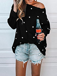 cheap -Women's Geometric Long Sleeve Cardigan Sweater Jumper, Off Shoulder Black / Blue / Red S / M / L