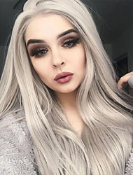 cheap -Synthetic Lace Front Wig Natural Straight Middle Part Lace Front Wig Long Grey Synthetic Hair 18-26 inch Women's Heat Resistant Party Synthetic Gray