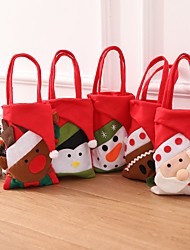 cheap -5pcs New Year Christmas Gifts Santa Claus Snowman Candy Bags Hanging Bag Merry Christmas Storage