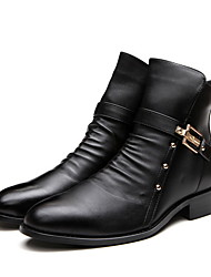 cheap -Women's Boots Low Heel Round Toe Leather Booties / Ankle Boots Fall & Winter Black