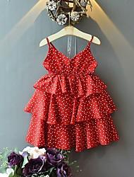 cheap -Kids Toddler Girls' Cute Boho Polka Dot Backless Pleated Sleeveless Above Knee Dress Red