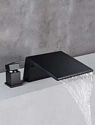 cheap -Bathroom Sink Faucet - Waterfall Black Widespread Single Handle Two HolesBath Taps