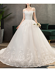 cheap -Ball Gown Off Shoulder Sweep / Brush Train Tulle Short Sleeve Made-To-Measure Wedding Dresses with Appliques 2020