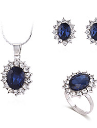 cheap -Women's Necklace Earrings Ring Classic Flower Simple Vintage Korean Fashion Elegant Earrings Jewelry Blue For Wedding Party Engagement Gift Daily 1 set