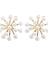 cheap -Women's Stud Earrings Hollow Out Ball Asian Fashion Cute Imitation Pearl Earrings Jewelry White For Party Daily Holiday Work Club 1 Pair