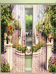 abordables -Petit jardin numérique impression 3d rideau rideau ombrage haute précision noir tissu de soie rideau de haute qualité