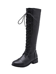 cheap -Women's Boots Knee High Boots Chunky Heel Round Toe PU Knee High Boots Preppy Spring &  Fall / Fall & Winter Black / White / Wedding