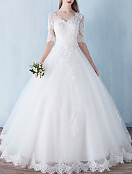 cheap -A-Line V Neck Floor Length Polyester Half Sleeve Formal / Mordern Backless / Illusion Sleeve Wedding Dresses with Lace Insert 2020