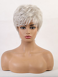 cheap -Human Hair Wig Short Curly Bob Pixie Cut Layered Haircut Asymmetrical White Cool Comfortable Natural Hairline Capless Women's All Sliver White 8 inch / African American Wig