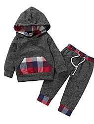 cheap -Baby Boys' Active Basic Print Print Long Sleeve Regular Regular Clothing Set Dark Gray / Toddler