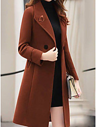 Недорогие -женщины выходят на работу / базовая осень& зимнее длинное пальто, однотонное отложное с длинным рукавом, полиэстер черный / армейский зеленый / красный
