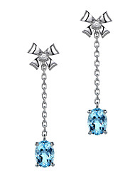 Недорогие -Moonrocy серебряный цвет кристалл серьги болтаться фиолетовый зеленый длинные синие серьги для женщин подарок девушкам ювелирные изделия оптом бантом