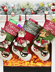 cheap -Christmas / Christmas Ornaments / Christmas Stockings Christmas Textile / Flannel Mini Cartoon / Party Christmas Decoration / Christmas Stockings 1PC
