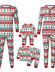 cheap -3 Pieces Family Look Basic Punk & Gothic Deer Santa Claus The Little Mermaid Geometric Abstract Christmas Print Long Sleeve Regular Maxi Regular Clothing Set Red
