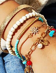 cheap -5pcs Women's White Bracelet Bangles Bead Bracelet Earrings / Bracelet Layered Weave Shell Classic Vintage Trendy Fashion Boho Imitation Pearl Bracelet Jewelry Gold For Daily School Street Holiday