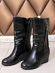 cheap -Women's Boots Wedge Heel Round Toe PU Booties / Ankle Boots Fall & Winter Black