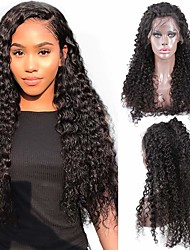 cheap -Human Hair Unprocessed Virgin Hair 4x13 Closure Wig Free Part style Brazilian Hair Kinky Curly Natural Wig 150% Density Party Classic Sexy Lady Hot Sale Thick Women's Long Cosplay Suits Tea Party