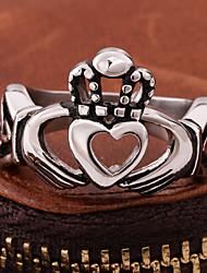 cheap -Band Ring Vintage Style Black Titanium Steel Heart Precious Vintage Punk Rock 1pc 8 / Men's