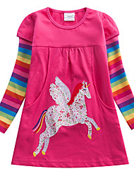 cheap -Kids Girls' Sweet Unicorn Striped Rainbow Cartoon Print Long Sleeve Knee-length Dress Fuchsia / Cotton