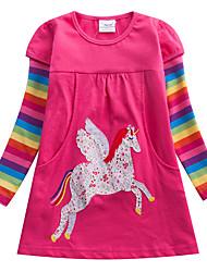 cheap -Kids Girls' Sweet Unicorn Striped Rainbow Cartoon Print Long Sleeve Knee-length Dress Fuchsia / Cotton